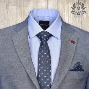 Falcon's sötétkék, virágmintás nyakkendő