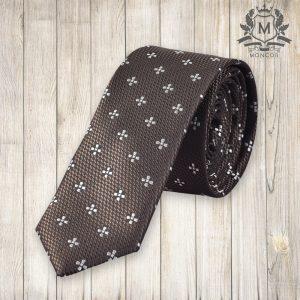 Falcon's bársonybarna, virágmintás nyakkendő